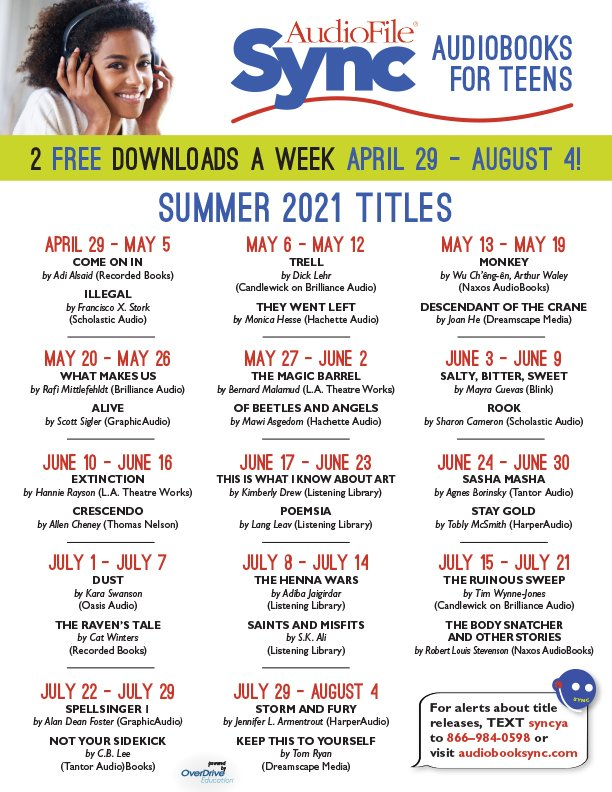 Sync audiobooks for teens poster.