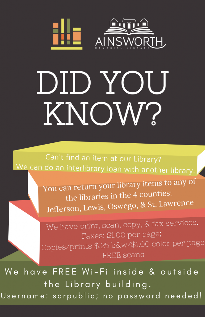 A list of the services we offer at the library, such as fax, copies, prints, and scans; interlibrary loans, and free Wi-Fi.