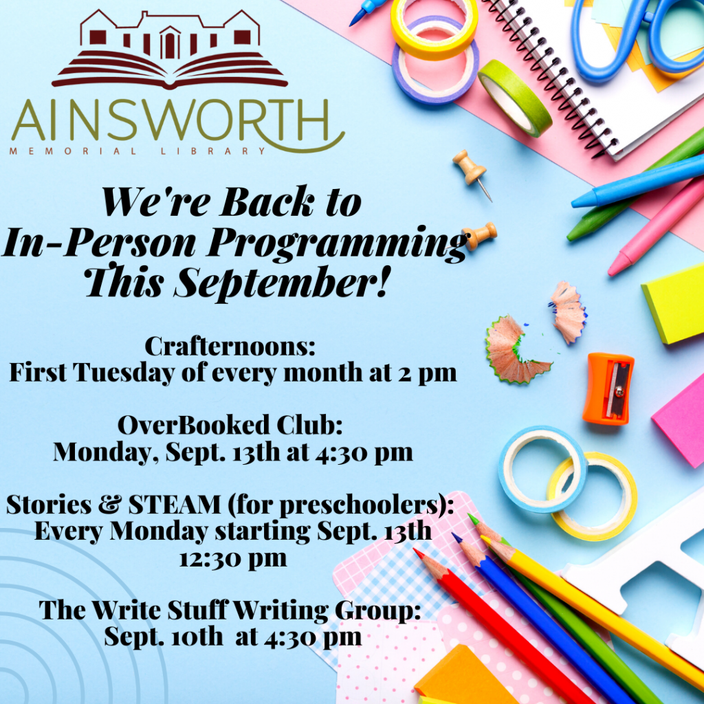 We're back to in-person programming this September!